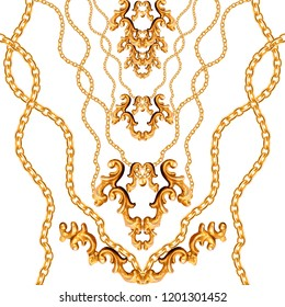 Golden Baroque Ornament. Gold cartouche on a white background, shiny, chains
