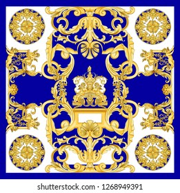 golden  baroque  white and blue colors  scarf design