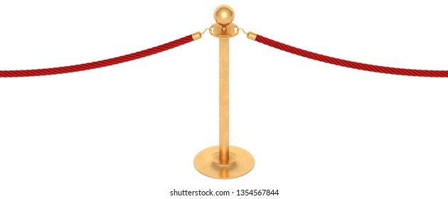 Golden barricade with red rope isolated on white background. Seamless 3d rendering.