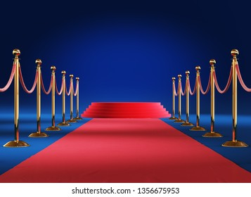 Golden barrier with podium isolated on blue background. Clipping path included. 3d illustration