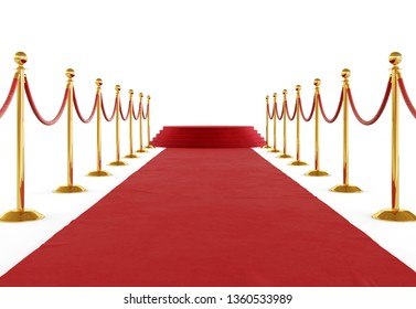 Golden barrier with red rope isolated on white background. Clipping path included. 3d illustration