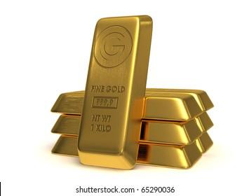 Golden bars 3d rendered on white background