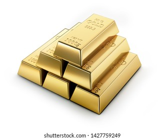 Golden bars isolated on white backdrop - 3D illustration