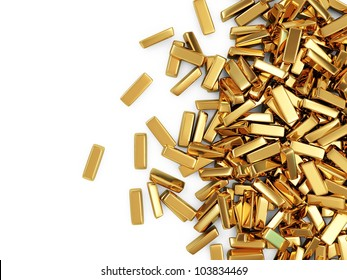 Golden Bars on white background with place for your text