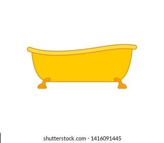 Golden Bath . Yellow bathtub. rich Bathroom accessory.
