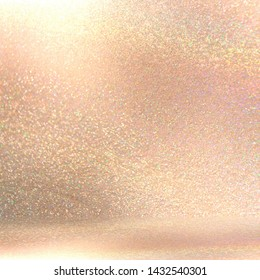 Golden beige shimmer texture. Sparks gemstone 3d background. Bright light into amazing room.