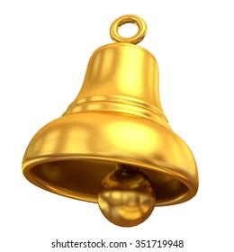 Golden bell, 3D render art and illustration.