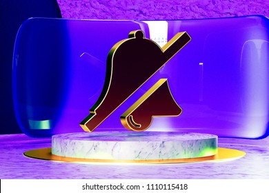 Golden Bell Slash Icon on the Marble and Blue Glass. 3D Illustration of Golden Bell, Silent, Slash, Phone, Mute, Symbol, Silence Icon Set in the Blue Installation.