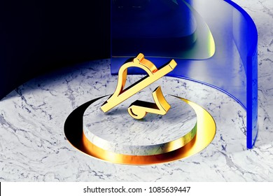 Golden Bell Slash Symbol on the White Marble and Blue Glass Around. 3D Illustration of Golden Bell, Silent, Slash, Phone, Mute, Symbol, Silence Icon Set With Blue Glass.