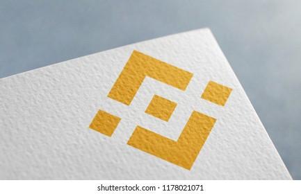 Golden Binance Coin 3D Illustration Symbol Write On The Paper. Binance Coin Logo On The Paper. Golden Binance Coin Logo. 3D Rendering.