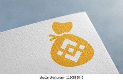 Golden Binance Coin Bag 3D Illustration Symbol Write On The Paper. Binance Coin Bag Logo On The Paper. Binance Coin Bag Logo. 3D Rendering.