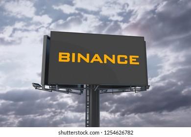 Golden Binance Coin Letter On Billboard And Sky Background. 3D Illustration Of Golden Binance Coin Letter. 3D Rendering.