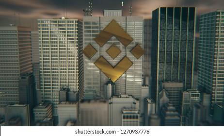 Golden Binance Coin Logo 3D Illustration of City Bakcground. Golden Binance Coin Symbol. 3D Rendering.