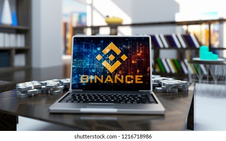 Golden Binance Coin Logo Write Laptop On Living Room Background. 3D Illustration Of Gold Binance Coin Sing.