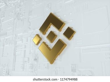 Golden Binance Coin On The White Wall Background. Golden Binance Coin Logo. 3D İllustration.
