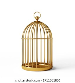 golden bird cage isolated on a white. 3d illustration