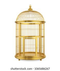Golden Birdcage Isolated. 3D rendering