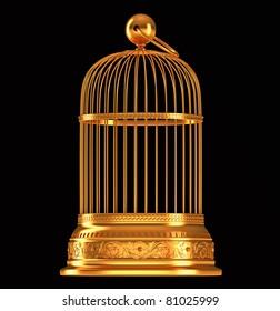 Golden birdcage isolated over black background