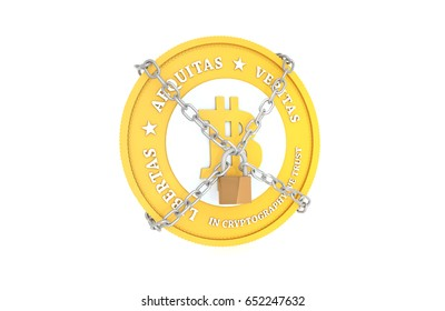 Golden Bitcoin with Chains and Padlock. Virtual currency law and regulations concept. 3D Illustration.