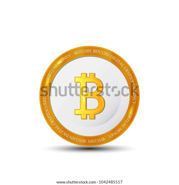 Golden bitcoin coin. Crypto currency golden coin bitcoin symbol isolated on white background. Realistic  illustration.