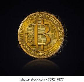 Golden bitcoin coin in fire flame, water splashes and lightning. Bitcoin Gold blockchain hard fork concept. Cryptocurrency.