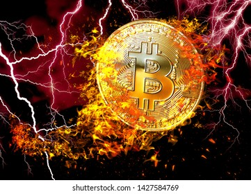 Golden bitcoin coin flying in fire flame. Burning crypto currency bitcoin symbol illustration isolated on black background. 3D rendering.