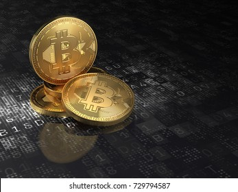 Golden bitcoin coin on black digital background with cryptography data. 3d illustration