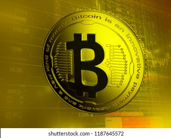 Golden bitcoin digital currency, futuristic money, technology worldwide network concept, 3D rendering. Gold yellow background with on forex chart trades info. Physical bit coin. Cryptocurrency.