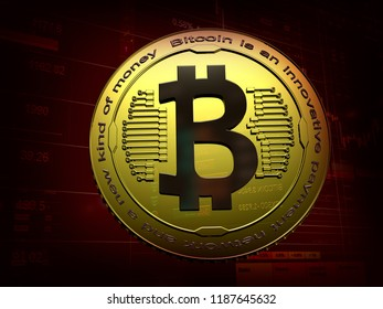 Golden bitcoin digital currency, futuristic digital money, technology worldwide network concept, 3D rendering. Dark red background with  on forex chart trades info. Physical bit coin. Cryptocurrency.
