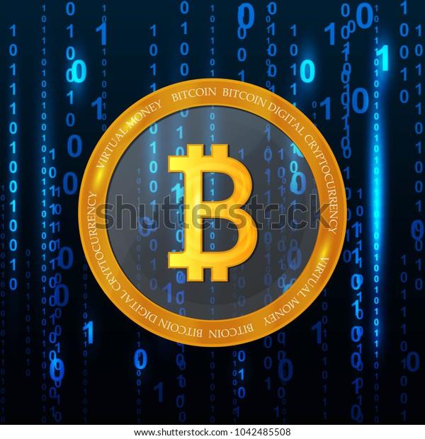 Golden bitcoin digital currency, futuristic digital money, technology worldwide network concept