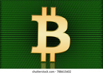 Golden Bitcoin Digital Symbol - Digital Currency - Illustration showing a golden bitcoin symbol in front of a background of data made of ones and zeros.