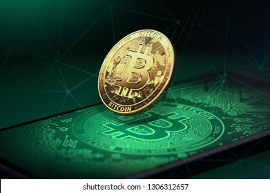 Golden bitcoin levitating over a smartphone with Bitcoin logo on it. Bitcoin and blockchain concept. 3D rendering