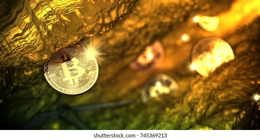 Golden Bitcoin mining in deep cave with pickaxe and some coin in background - 3d illustration.