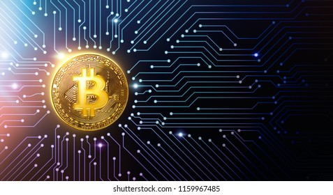 Golden bitcoin on circuit board - 3D Rendering