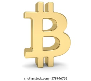 Golden bitcoin sign over a white background. Part of a series. 3D rendering.