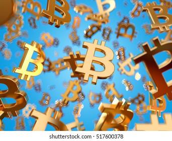Golden bitcoin signs raining. 3D rendering.
