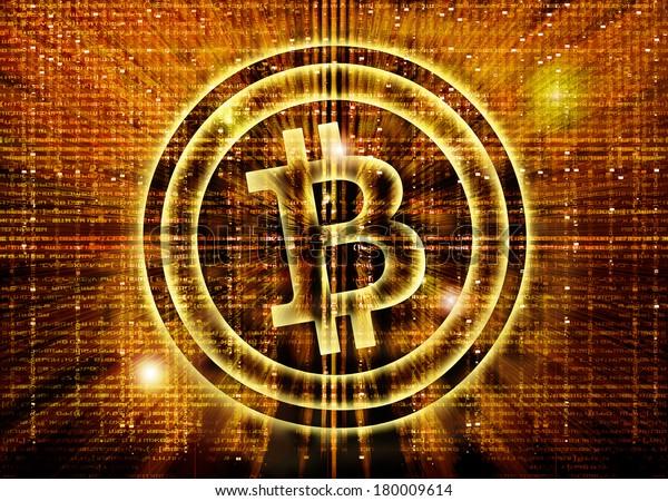 golden bitcoin symbol digital abstract background