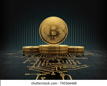 Golden bitcoins standing on circuit board, cryptocurrency concept. 3d illustration.