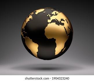 Golden and black earth globe on dark background - 3D illustration