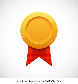 Golden Blank Medal Award with Ribbon for Sports Games. Achievement Icon.