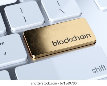 Golden blockchain service sign button on white computer keyboard. 3d rendering concept
