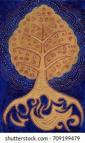 Golden Bodhi tree symbol on dark blue background. Abstract Luxury style illustration. Hand drawn beautiful Tree of life with stylized roots. Fabulous Ethnic design. Mystic tribal or boho concept.