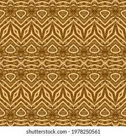 Golden Boho Textile. Yellow Traditional Zag. Boho Watercolour. Brown Geo Abstract. Gold Print. Yellow Bohemian Texture. Beige Dyed ZigZag Yellow Tribal Print. Brown Abstract Batik. Beige Dyed Brush.