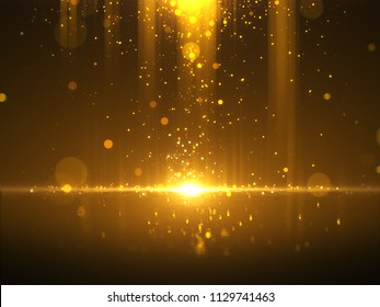 Golden bokeh glamour abstract background.