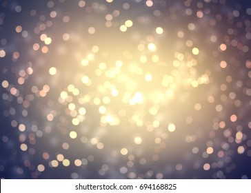 Golden bokeh texture blurred. Retro glitter background. Vintage confetti empty texture.