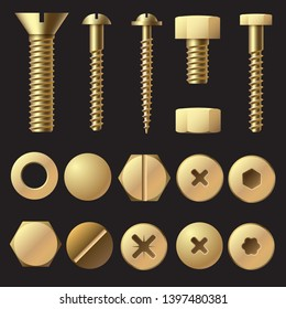 Golden bolts and screws. Washer nut hardware rivet screw and bolt. Gold fasteners isolated illustration set