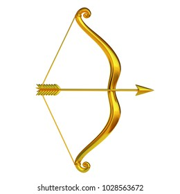 Golden bow and arrow isolated on white background 3d rendering