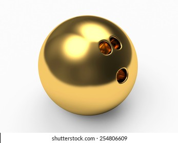 Golden bowling ball on white background