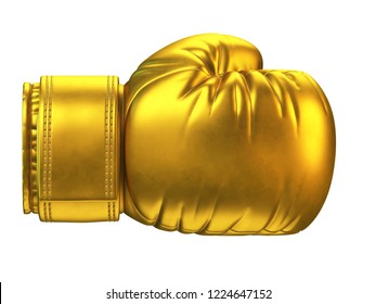 Golden boxing glove isolated on white background 3d rendering