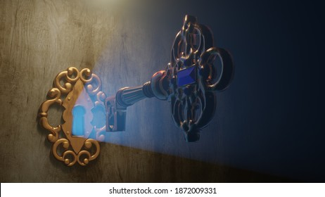 A golden brass key unlocks the old door lock with the light shining through the keyhole. 3D illustration